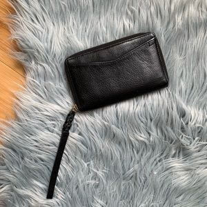 Fossil Braided Wristlet Black Leather Wallet